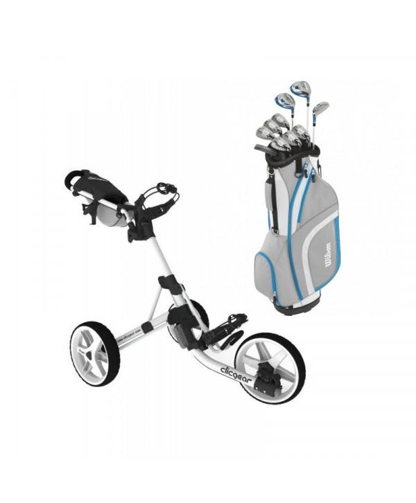 Dámský golfový set Wilson + golfový vozík Clicgear 3.5+