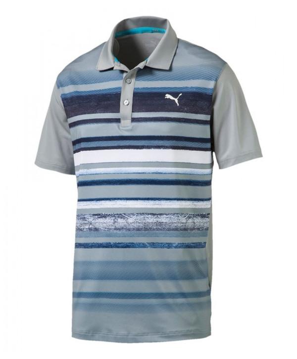 Puma Golf Mens Washed Stripe Polo Shirt