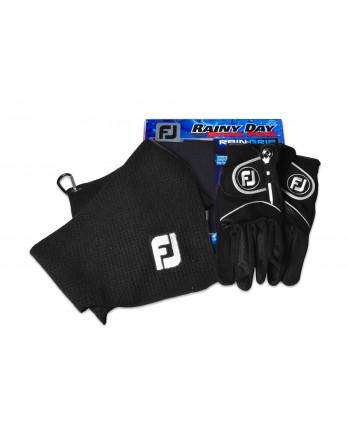 Pánska golfová rukavica + uterák FootJoy RainGrip