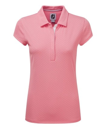 FootJoy Ladies Printed Dot Smooth Pique Cap Sleeve Polo Shirt