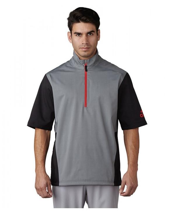 adidas Mens ClimaProof Heathered Short Sleeve Rain Jacket