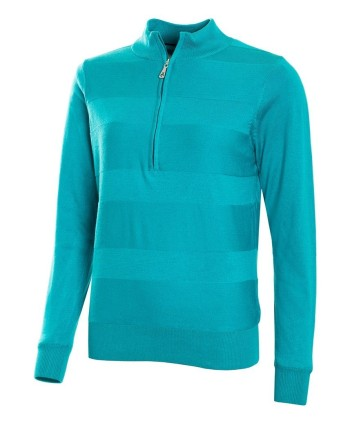 Green Lamb Ladies Gabi Raised Stitch Lined Half Zip Sweater