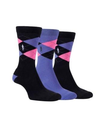 Dámske golfové ponožky Glenmuir Argyle Jacquard (3 páry)