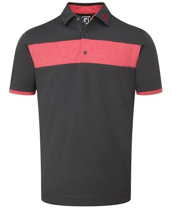 Pánské golfové triko FootJoy Smooth Pique Heather Pieced Stripe 2018