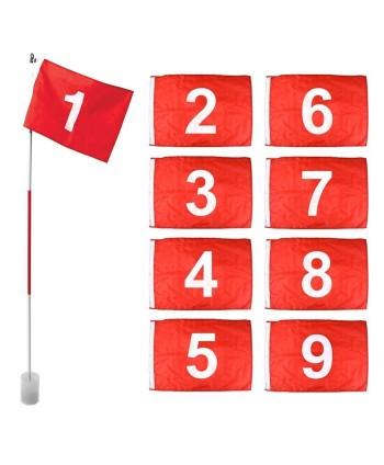 Tréninková golfová vlajka (9 ks)