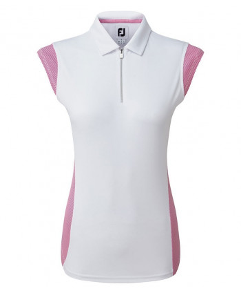 FootJoy Ladies Micro Interlock Princess Seam Cap Sleeve Polo Shirt