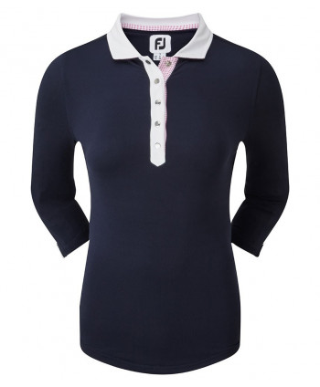 FootJoy Ladies Baby Pique 3/4 Sleeve Contrast Trim Polo Shirt