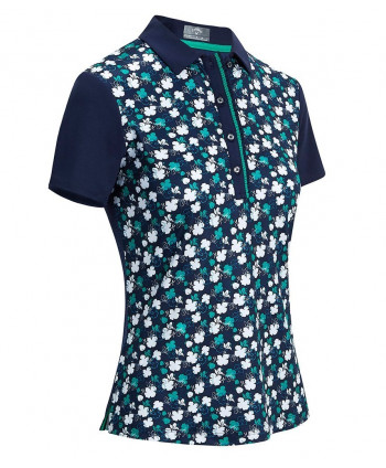 Callaway Ladies Tonal Floral Stripe Mock Polo Shirt