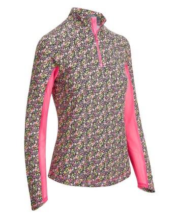 Callaway Ladies Tonal Floral Stripe Mock Polo Shirt