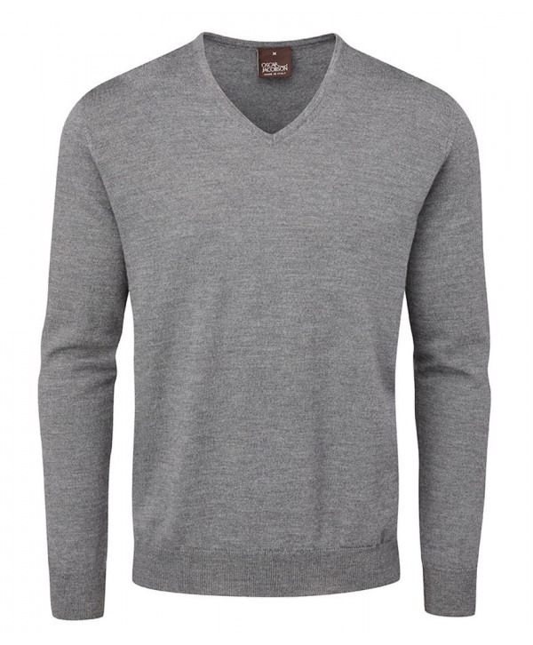 Oscar Jacobson Mens Weston Pin V Neck Merino Sweater
