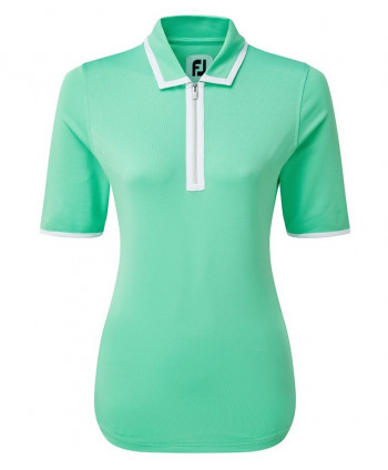 FootJoy Ladies Placket Pique Half Zip Short Sleeve Polo Shirt