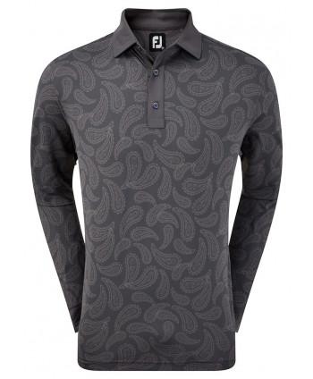 Pánské triko s dlouhým rukávem Pique Tonal Paisley Print