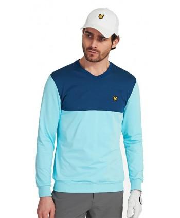 Pánský golfový svetr Lyle and Scott V Neck Colour Block