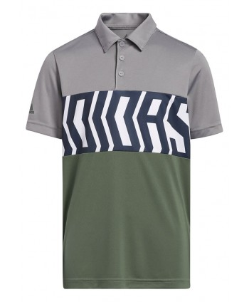 adidas Boys Print Colour Blocking Polo Shirt